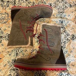 Sorel boots pink grey 12 snow boots